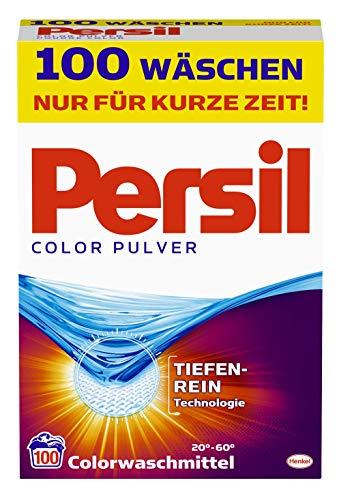 Persil Color Pulver, Colorwaschmittel, 100 Waschladungen, kraftvolle Fleckenentfernung für hygienisch reine Wäsche