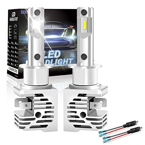 Ampoule H1 LED, XENPLUS Blanc 6500K 12V Phares pour Voiture et Moto, Lampes de Remplacement pour Ampoules Halogènes Xénons Réglable, 2 PCS