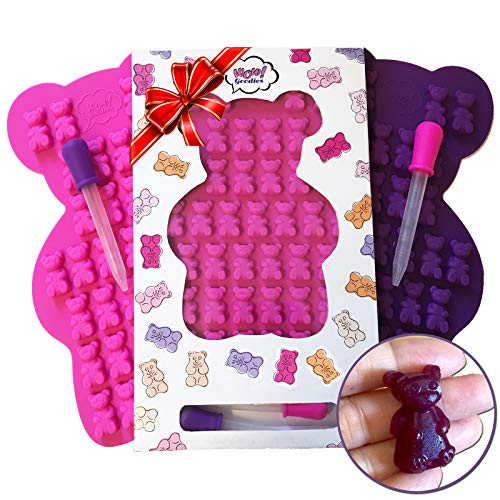 UNIQUE Extra Large Gummy Bear Mold - 2 Big Molds + 2 Bonus Droppers - Durable BPA Free Silicone -'The Bears Popped out Easily, They are so Cute and Have Unique Details That Actually Came Out' (A.C)