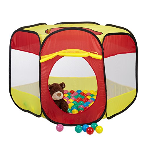 Relaxdays Piscina Bolas Plegable con 100 Pelotas, Tienda Pop Up para...