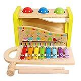 Toys of Wood Oxford TOWO Gioco con Martello in Legno, Palline e Xilofono - Martello Giocattolo e Tastiera Musicale, Xilofono per Bambini - Gioco Musicale in Legno per Bambini di 3 Anni