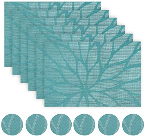 Placemats and Coaster Sets Teal Set of 6 - Woven Vinyl Dinning Table Placemats Heat Resistant Non-Slip Washable Wipe-Clean Place Mats for Home, Kitchen (6 placemats + 6 coasters)(BlueGreen)