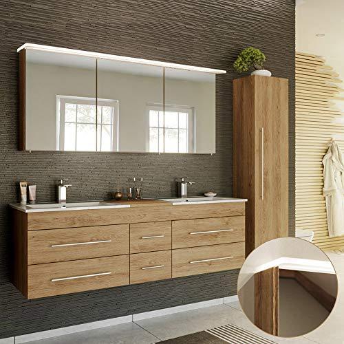 Lomadox Badmöbel Komplett Set in Eiche hell, Doppel-Waschtisch mit Unterschrank, 2 Waschbecken, LED-Spiegelschrank, Hochschrank