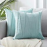 Topfinel 2 Juegos Hogar Cojín Terciopelo Suave Decorativa Almohadas Fundas de Color Sólido para Sala de Estar sofás 50x50cm Azul