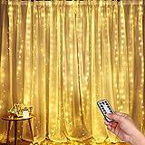 Luces LED Cadena de Cortina, DazSpirit luces decorativas de ventana de 3M*3M, Blanco Cálido, 3000 LEDs USB 8 Modos y Resistencia al agua, Para Exteriores, Interiores,...