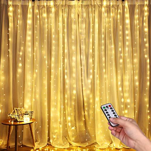 LED Lichtervorhang, DazSpirit 3m x 3m 300 LEDs USB Lichterkettenvorhang Warmweiße Fensterleuchten mit 8 Modi Vorhang Lichterketten IP44 Wasserfest für Außen, Innen, Party, Weihnacht, Schlafzimmer