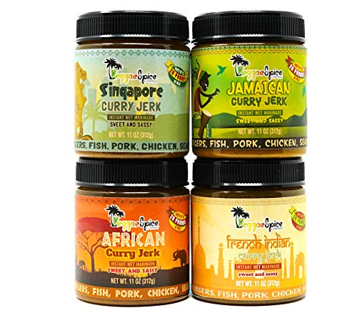 REGGAE SPICE Jamaican Jerk Seasoning Authentic Wet Rub Marinade Sauce - Perfect for Beef, Pork, Chicken, Seafood, and Vegetables - Variety pack (4) Sweet or Spicy (Sweet and Sassy)