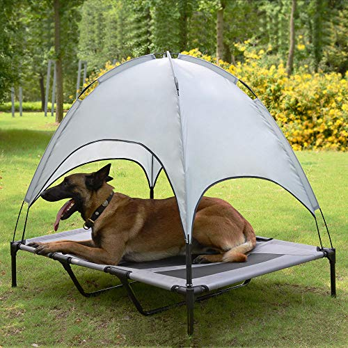 Niubya 48 Inches XLarge Elevated Dog Cot with Canopy, Durable 1680D Oxford Fabric Pet Bed for Indoor and Outdoor Use, Silver Gray