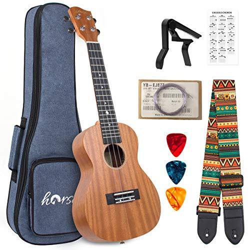 Lotmusic - ukulele in mogano per principianti, con tracolla, cordino 23 inch Concerto