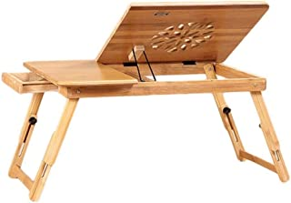 Zfggd Cama Portable de la Tabla del Ordenador de Escritorio for los Espacios pequeños de bambú del radiador Plegable de Altura Ajustable Estable Natural