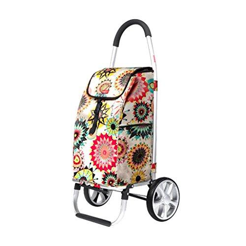 Carrello carrello piccolo carrello portapacchi carrello pieghevole pieghevole per auto in alluminio (Color : Beige, Size : 34 * 33...