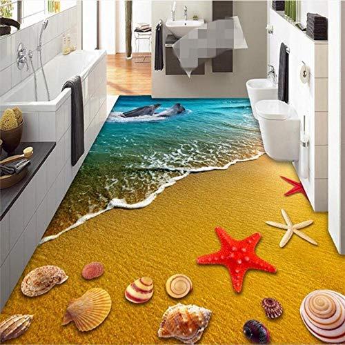ZJfong Foto 3D draagbare PVC vloerbedekking Kleur onderwaterwereld toilet badkamer slaapkamer woonkamer vloerschilderen 330x210cm