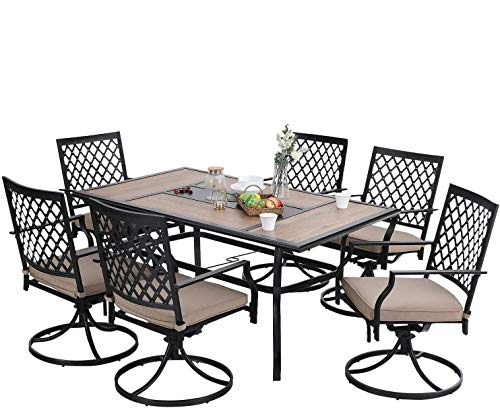 PHI VILLA Outdoor Patio Dining Set of 7 Metal Furniture Set, 6 Swivel Chairs with 1 Rectangular Umbrella Wood Like Table for Outdoor Lawn Garden, Black