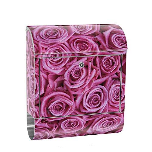 Preisvergleich Produktbild liwwing Briefkasten Edelstahl mit Motiv und Zeitungsfach,  Zeitungsrolle als XXL Design Wandbriefkasten / Blumen Rose Blüten Natur Liebe Love Blüte Lila / no. 0183