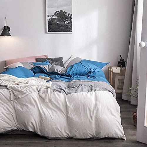 N&G Decoración del hogar, Funda nórdica King, Funda de edredón con Costura, Juego de Cuatro Piezas de algodón Lavado, Kit de Dormitorio Simple, Lavable a máquina