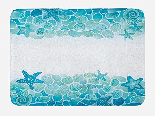 Lunarable Ocean Bath Mat, Aquatic Look Modern Sealife Marine Sea Shells Stars and Fish Under The Ocean Modern Image, Plush Bathroom Decor Mat with Non Slip Backing, 29.5' X 17.5', Turquoise Seafoam