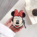 Cocomii 3D Disney AirPods Hülle, Schlank Dünn Matte Sanft TPU Silikon Gummi Gel Mit Schlüsselring 3D-Disney-Figuren Karikatur Mode Hülle Bumper Cover Schutzhülle for Apple AirPods (Minnie Full)