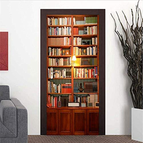 DEENLI Adesivo Porta Blindata Interna 35.4'X78.7',3D PVC Autoadesivo Impermeabile Smontabile, Klimt Mare Adesivi Spiaggia Zen Cascata Scultura, Libreria