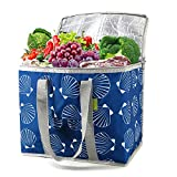 Blue Insulated Bag Large Capacity Cooler Bag for Groceries Hold Up to 60LBS Insulated Totes for Cold Hot Food with Top Long Handles