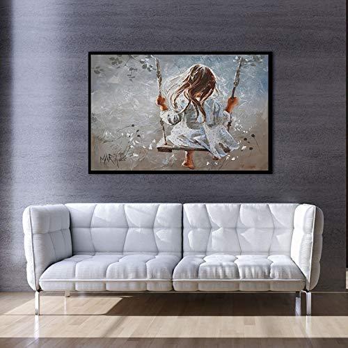 Lienzo de pintura chica columpio arte de pared carteles e impresiones de pared para sala de estar decoración lienzo pintura decoración del hogar - 60 x 90 cm sin marco