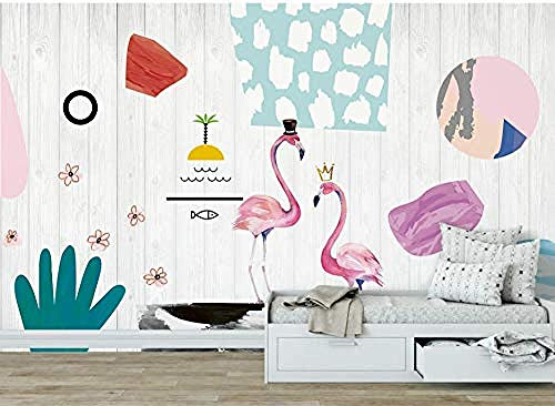 ZZXIAO Pared Pintado Papel tapiz 3D Pareja Flamingo Abstract Wallpaper Mural Home Habitación de los niños Fondo Decoración de la Decoración Fotográfico Fotomural sala sofá pared mural-430cm×300cm