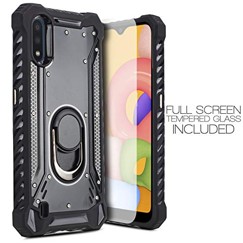 For Samsung Galaxy A01 015 Case with Full Coverage Tempered Glass Military Armor Heavy Duty Shockproof Phone Stand Protective Case with Ring Magnetic Kickstand Bottle Opener Hard PC Back Cover (Black)