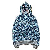 Bape Hoodie,Shark Hoodie,Bape Jacket Sudadera con capucha para hombre y mujer, estilo casual, camiseta completa, sudadera con capucha, moda deportiva, azul, XL