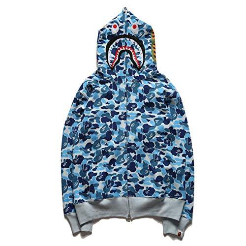 Bape Hoodie, Shark Hoodie, Bape Jacket - Sudadera con capucha para hombre y mujer, estilo informal, con capucha, color azul, grande