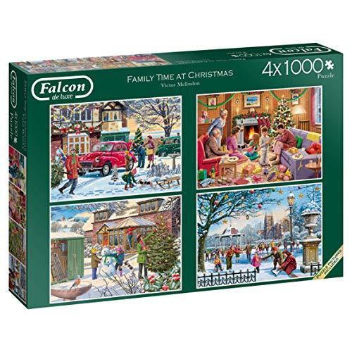 Luxus-Puzzle Family Time at Christmas-Puzzle, 4 x 1000 Teile, Puzzles (Puzzle, Weihnachten, Erwachsene, Kinder/Mädchen, 12 Teile im Innenbereich)