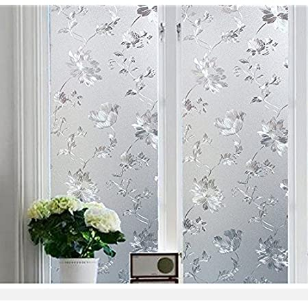 KREEPO Privacy Window Film White Window Flower Frosting Film Window Sticker Window Frosted Vinyl Sheets for Front Door/Bathroom/Sidelight/Small Windows, 24''x150''
