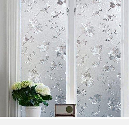 CVANU Sekretess fönsterfilm vitt fönster blomma glasyr film fönster klistermärke fönster frostat vinylark för ytterdörr/badrum/sidoljus/små fönster, 30 x 40 cm
