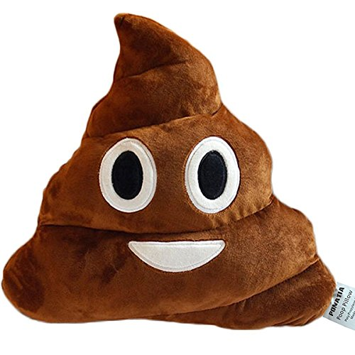 Peluche a forma di cacca sorridente, cuscino, emoticon, altezza e larghezza: 33cm Brown Smile Poop