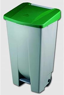 Denox 23400 - Contenedor basura selectivo con pedal y ruedas, color verde, talla 120