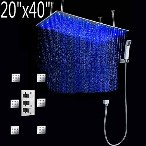 Find Bargain Cascada Luxury Bathroom Shower Set with Luxury Water Power LED Shower Head (Ceiling Mou...