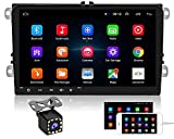 Android Autoradio per VW Golf POLO Touran Tiguan Seat Altea, Hikity Bluetooth Radio GPS Navigazione 9 Pollici Capacitivo Touch screen Auto Stereo FM WiFi Specchio di Collegamento