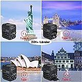 Reiseadapter Reisestecker Weltweit 224+ Ländern 5.6A Fast Charge Universal Travel Adapter mit 4 USB Ports+Typ C und AC Steckdosenadapter Internationale Reiseadapter für USA Europa UK Australien Usw - 6