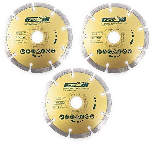 Toolzy Disco de corte de diamante 100038B3, 3 unidades, 115 mm, EN13236
