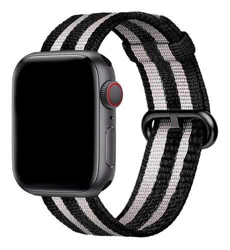 Pulseira Nylon, compatível com Apple Watch (Preto Novo, 44mm)