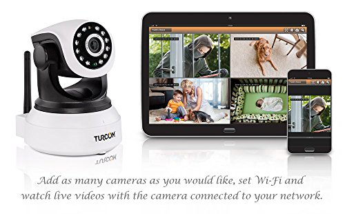 Turcom TS-620 IP Camera Baby Monitor, Night Vision, HD, Two Way Audio, WiFi Wireless Security, Connects to Tablets and iPhone or Android Phones, Full Motion, Surveillance System
