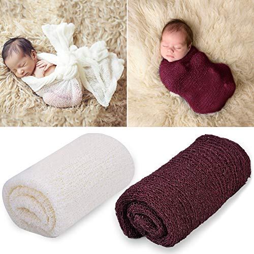 Licogel Newborn Nursery Wrap Flexible Infant Receiving Blanket 2PCS Warm Protective Breathable Infant Photo Prop Baby Ripple Wrap for Baby