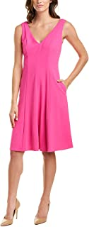 Donna Morgan womens Sleeveless V-Neck Flare Skirt Crepe Dress Casual Night Out Dress