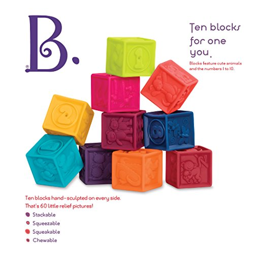 Image of B. Toys One Two Squeeze Baby Blocks - Building Blocks for Toddlers Educational Baby Toys 6 Months & Up with Numbers, Shapes, Animals & Textures 10 Soft & Colorful Stacking Blocks
