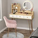 SHENXINCI Mesa de Tocador para Niñas con Luces Led Espejos y Taburete, con 2 Cajones y 3 Tabiques Alenamiento Maquillaje de Tabla de Tocador, Muebles de Dormitorio(80cm / 100cm)