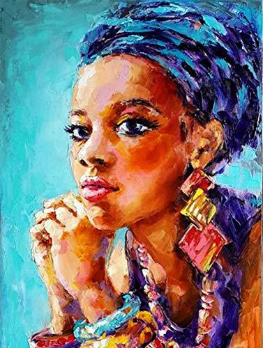 JHGJHK Arte Abstracto, Pintura al óleo al Fresco de Figuras africanas, Pintura de decoración de la habitación Familiar (Imagen 14)