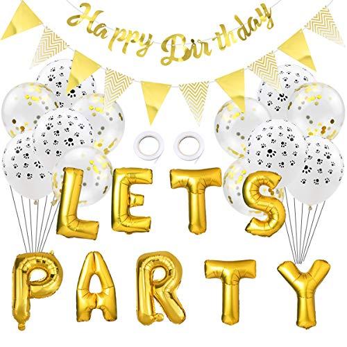 WEONE Decorazioni di Compleanno per Cani, Let Party Fioretto Pallone Happy Birthday Lettere Banner Confetti Palloncino per Animali Domestici, Riutilizzabili (Oro)