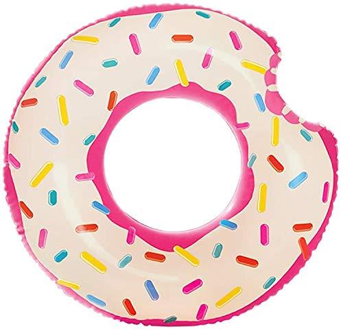 Aufblasbar Donut Schwimmring mit Biss aufblasbarer Schwimmreifen Donout Reifen lustig Donuts Ringe Pink Tube Wasserspielzeug und Pool Zubehör Lounge für Kinder und Erwachsene 107x99 cm