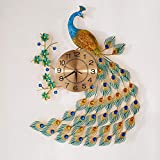 """KINBEDY Large Luxury Crystal Bohemian Peacock Style 31'X 20' Metal Rustic Wall Clock with Silent Movement 10"""" Metal Dial Large Sunburst Big Fancy Decorative Clock for Living Room, Bedroom."""