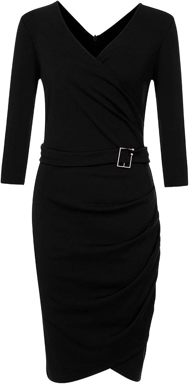 JIANYIO 2021 Women's Elegant Pencil Dress Retro Deep-V Neck Ruffles Long Sleeve Self Belted Wrap Stretchy Party Work Dresses