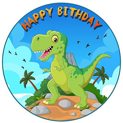Tortenaufleger Dino Dinosaurier Motiv Essbare Tortendeko Tortenbild Kuchendekoration Fondant Rund Ø20CM