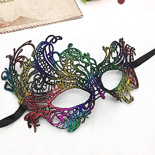 Biche Double Sided Rainbow Black Multi Color Lace Eye Mask Masquerade Party, Roleplay, Return Gift, Fancy Dress, Disguise, Honeymoon Spinster, Bachelor Fantasy(Multi)